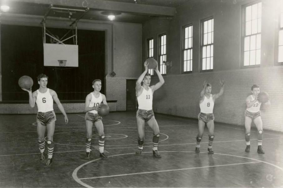 Students on the Brilliant High School basketball team, from the Ohio Guide Collection on Ohio Memory.