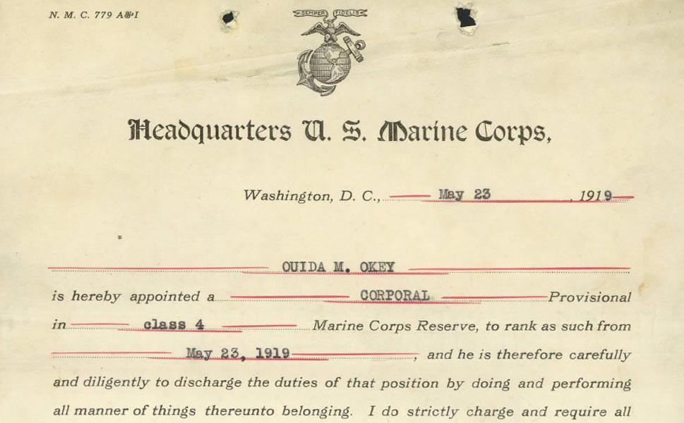 Official Marine Corps appointment document for Ouida Okey, dated May 23, 1919. Via Ohio Memory.