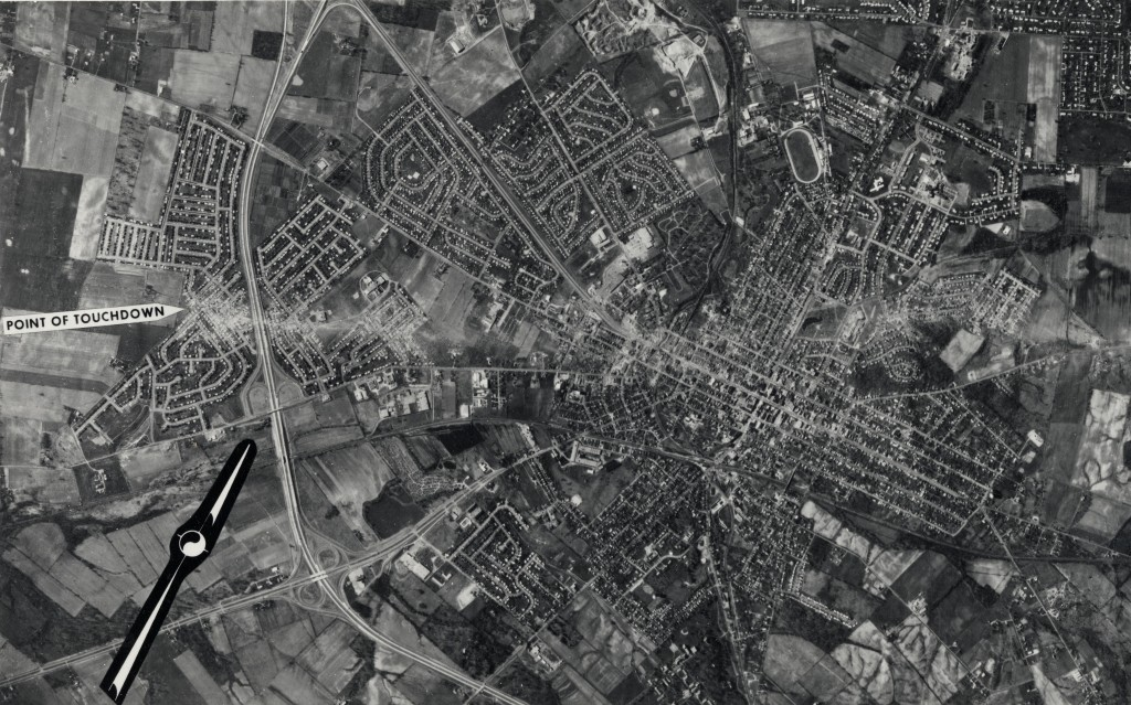 Photograph taken by the U.S. Air Force on April 4, 1974, documenting the path of destruction left by the tornado, via Ohio Memory.