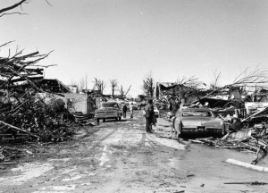 Photograph of the storm's destruction on Trumball Street in Xenia, courtesy of the Greene County Public Library via Ohio Memory.