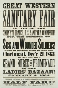Broadside advertising the Great Western Sanitary Fair held by the Cincinnati Branch of the U.S.S.C. Via Ohio Memory.