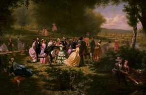 """Hocking Valley Picnic"" by David Broderick Walcutt, 1854. Via Ohio Memory."