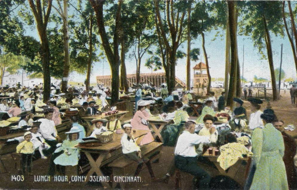 Postcard showing the picnic area at Coney Island amusement park in Cincinnati, Ohio, ca. 1910. Courtesy of the Public Library of Cincinnati & Hamilton County via Ohio Memory.