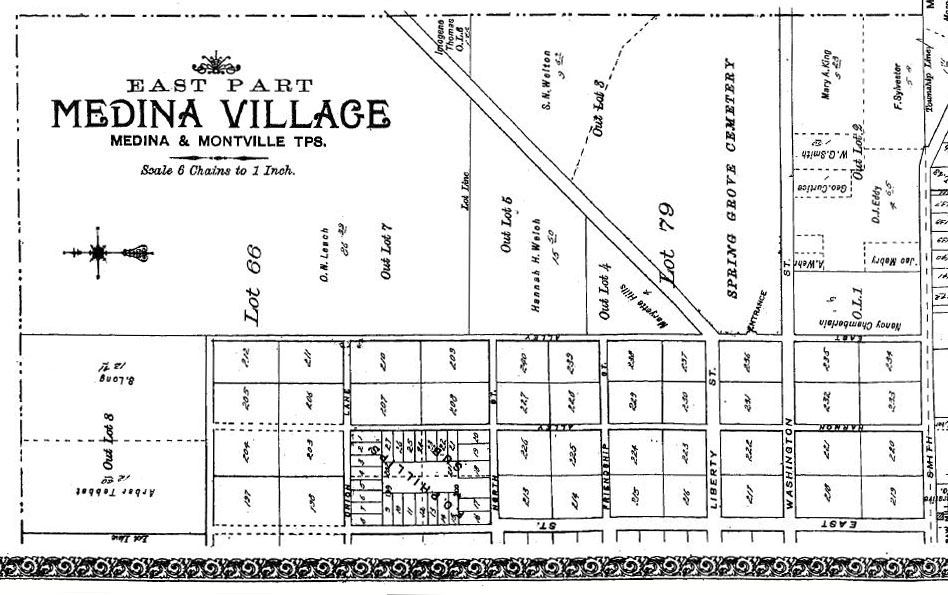 Plat map showing properties in Medina Village, 1897. Via the Ohio County Atlases Collection on Ohio Memory.