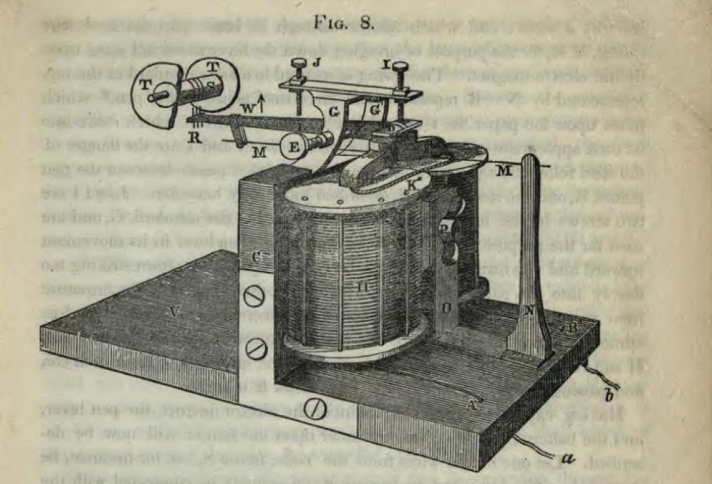 The electromagnet and its various components used in building a telegraph, from Description of the American Electro Magnetic Telegraph via the State Library of Ohio Rare Books Collection on Ohio Memory.