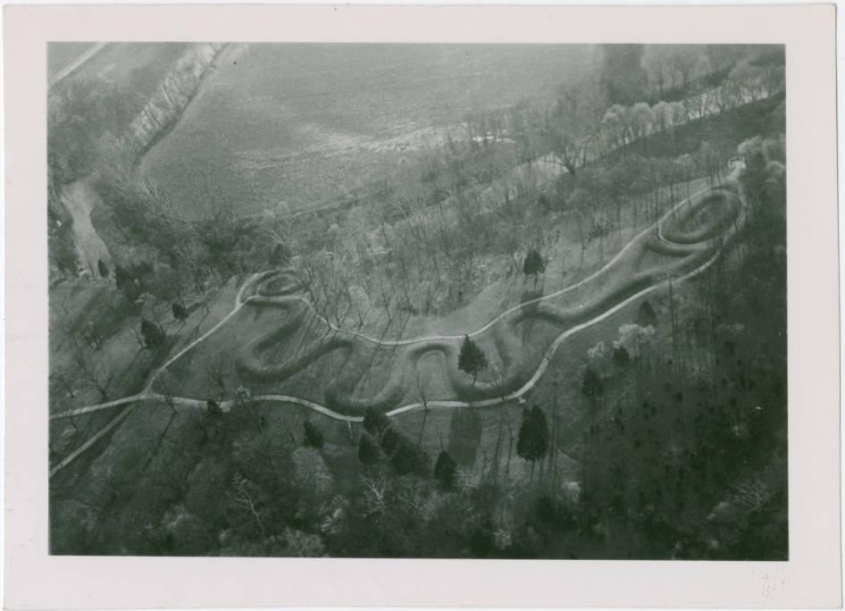 Serpent Mound aerial photograph ca. 1940, via Ohio Memory.