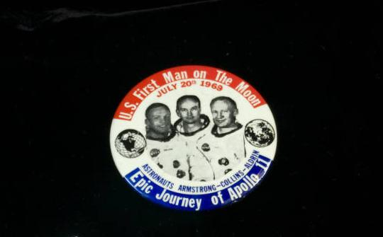 Commemorative moon landing pin, from the Armstrong Air and Space Museum Collection on Ohio Memory.