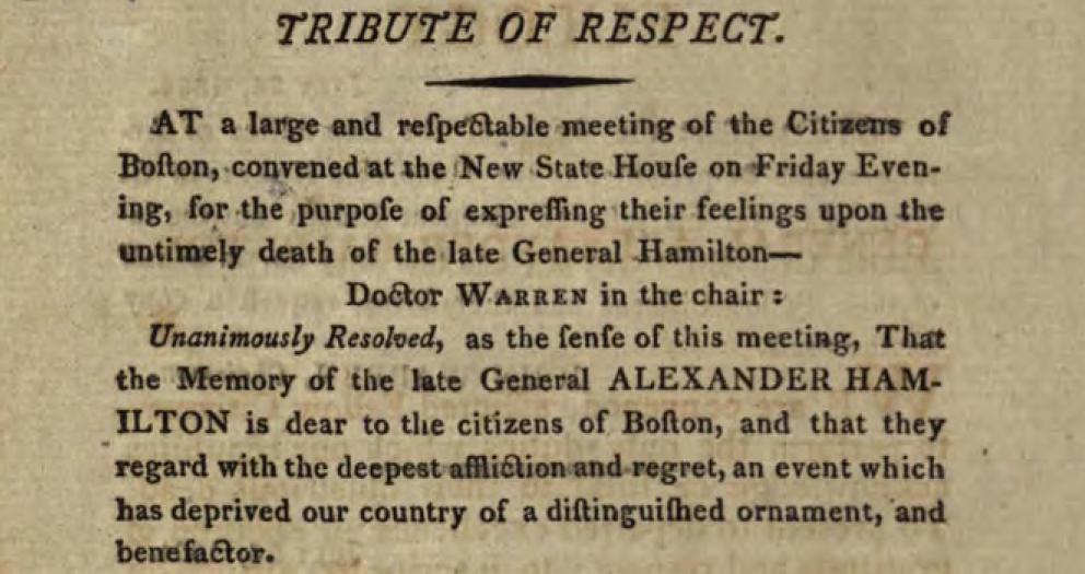 "Introduction to the text of ""Eulogy on General Alexander Hamilton,"" from the State Library of Ohio Rare Books Collection on Ohio Memory."