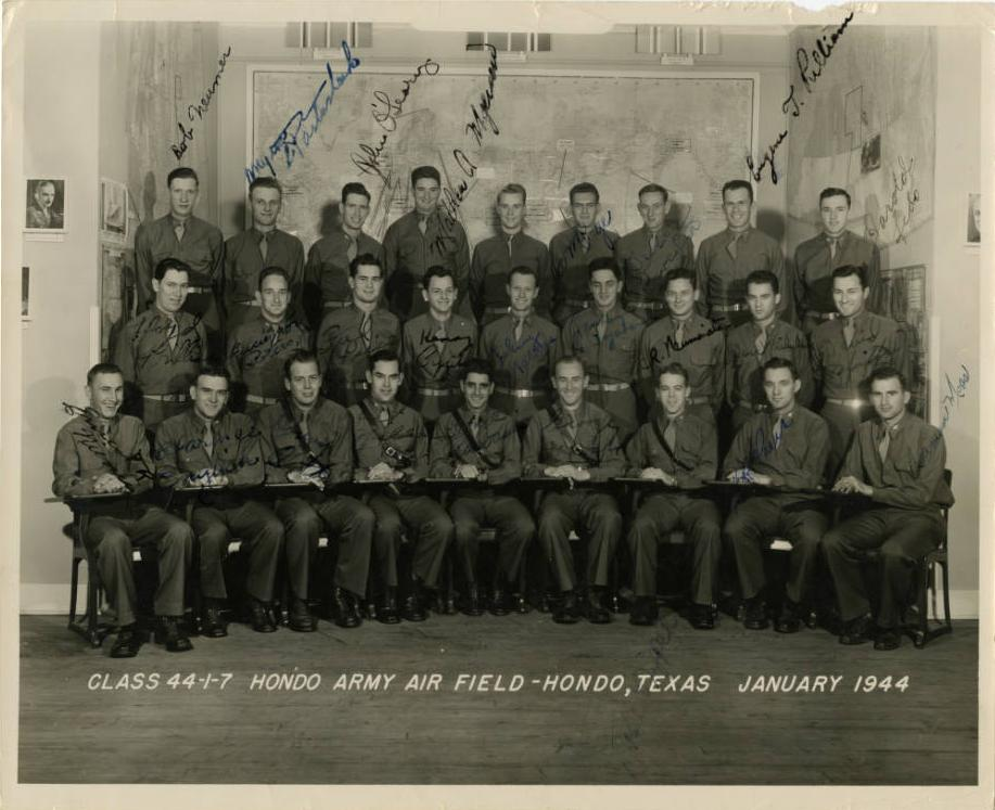 1944 graduating class at the Navigation School in Hondo, Texas. Part of the C. Walder Parke Collection on Ohio Memory.