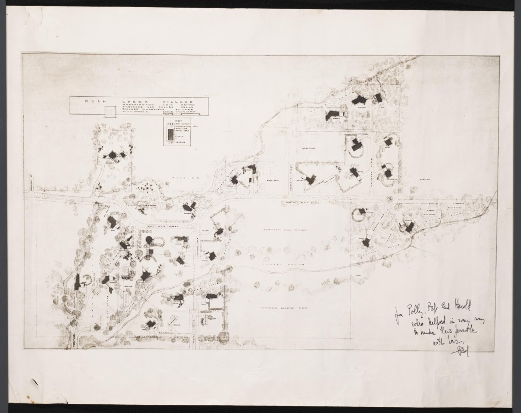 Plan for the layout of Rush Creek Village, created and signed by Theodore van Fossen. Via Ohio Memory.