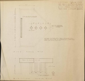 Plans for a coffee table in the Pepinsky home, also designed by van Fossen, via Ohio Memory.