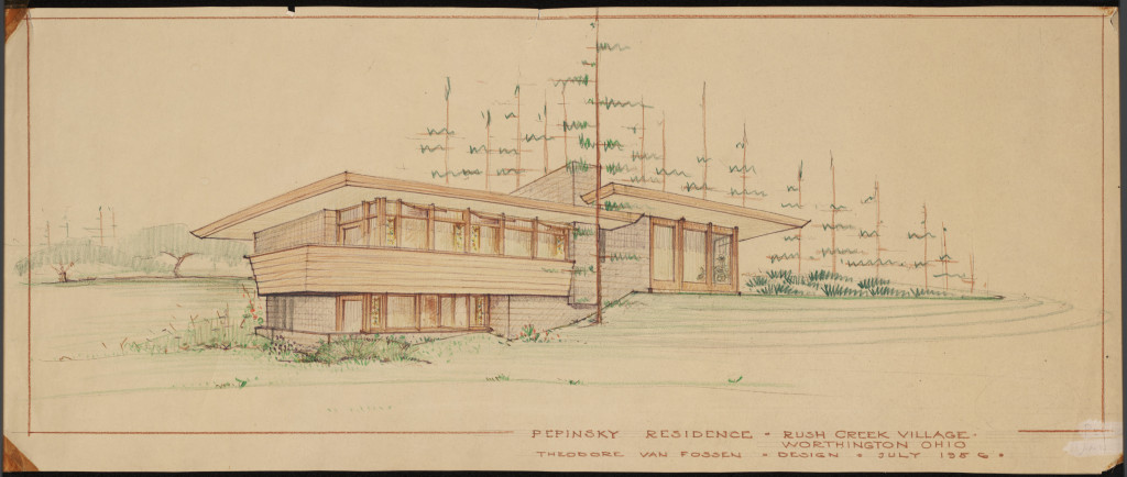 Exterior design for the home of Harold and Pauline Pepinsky in Rush Creek Village, via Ohio Memory.