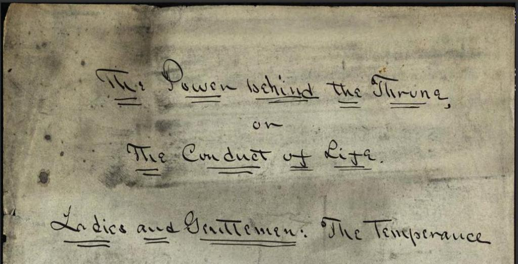 "Armstrong's handwritten manuscript ""The Power behind the Throne,"" via Ohio Memory."