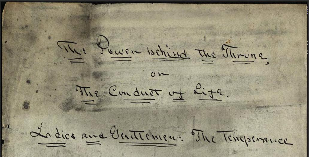 """Armstrong's handwritten manuscript """"The Power behind the Throne,"""" via Ohio Memory."""