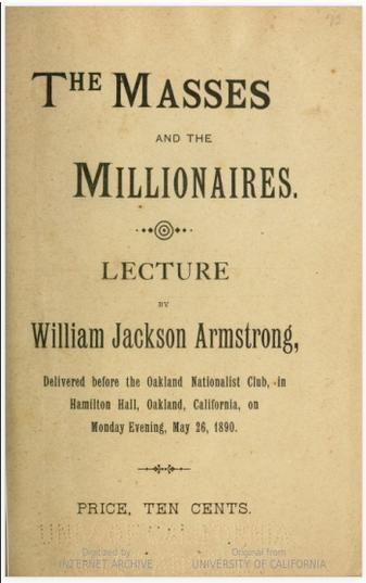 """The Masses and the Millions"" lecture by Armstrong, 1890. Courtesy of the Hathi Trust Digital Library."