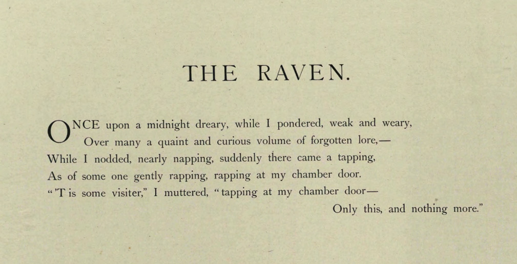 "Opening lines from the 1884 publication of ""The Raven,"" from the State Library of Ohio Rare Books Collection on Ohio Memory."