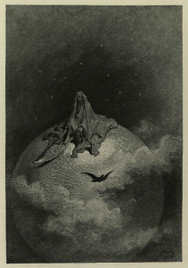 "Doré's illustration for the lines ""Doubting, dreaming dreams no mortal ever dared to dream before."""