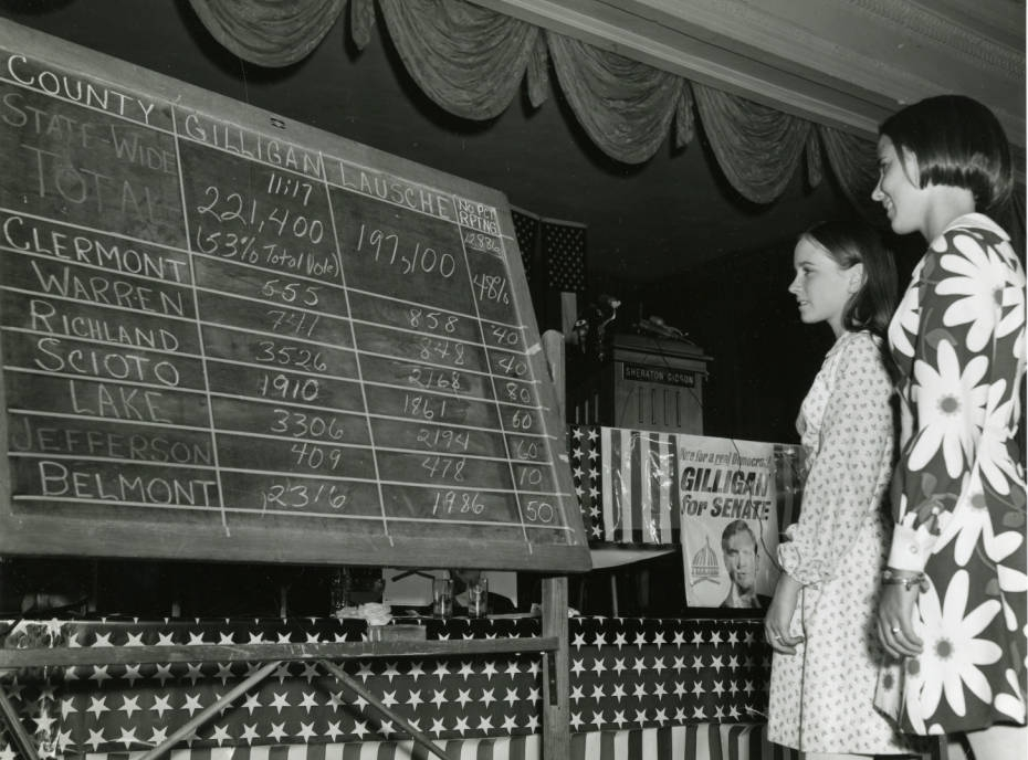 Two women before a results board for the 1968 Ohio Democratic primary, via Ohio Memory.