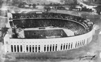 Aerial view of Ohio Stadium in Columbus. This photograph was taken on October 21, 1922, at the stadium's dedication game when the Buckeyes played University of Michigan. Via Ohio Memory.