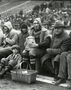 Fans and players along the OSU sidelines, ca. 1920. Via Ohio Memory.