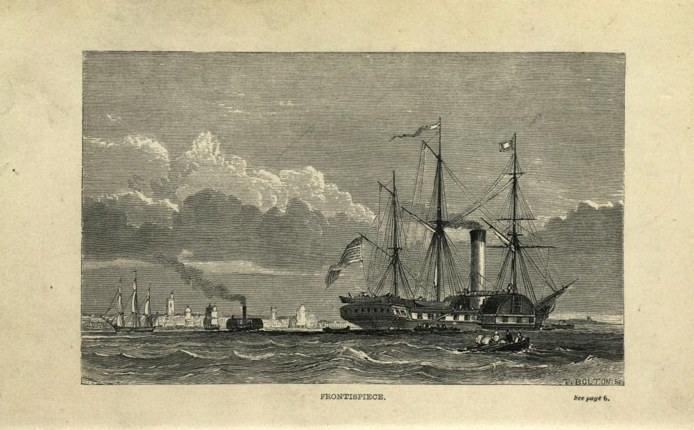 Frontispiece from American Notes for General Circulation, showing Dickens' ship the Britannia. Via the State Library of Ohio's Rare Books Collection on Ohio Memory.