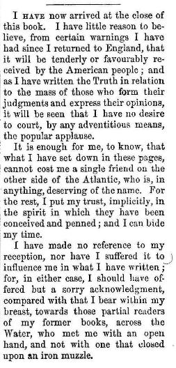 Dickens' final lines in American Notes.