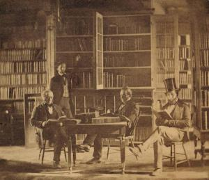 Visitors to the State Library of Ohio, ca. 1850, at its first location in the old state office building, which burned in 1852. Via Ohio Memory.
