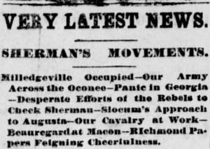 Headline from the Daily Ohio State Journal, November 30, 1864, Image 3, col. 3. Via Ohio Memory.