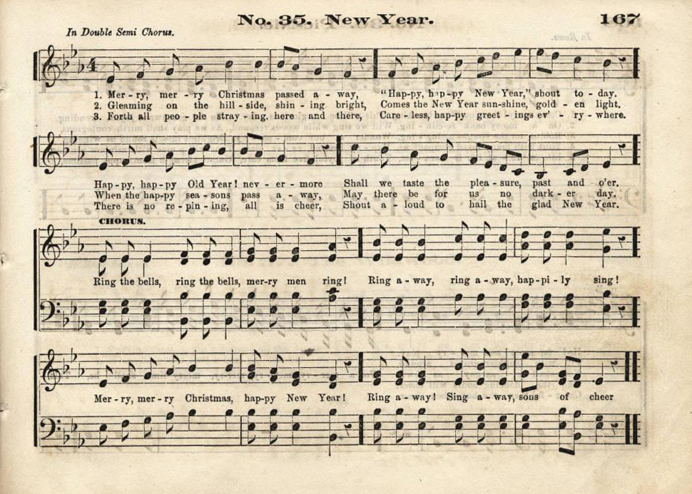 A New Year's song from The True Juvenile Song Book for Schools, Academies and Juvenile Classes. Courtesy of the Ursulines of Brown County via Ohio Memory.
