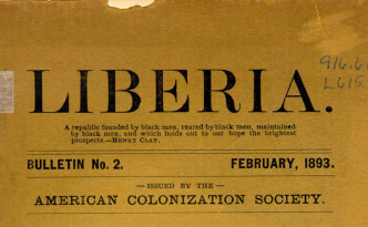 """Liberia"" bulletin issued by the American Colonization Society in February of 1893, via Ohio Memory."
