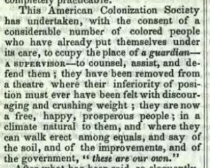 Excerpt from the last page of the ACS annual report, 1853. Via the State Library of Ohio Rare Books Collection on Ohio Memory.