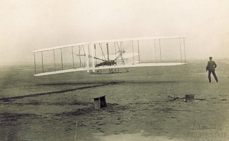 First powered flight photograph from the collections of Wright State University, via Ohio Memory.