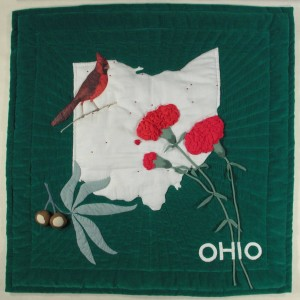 Quilt block by quilter Lois K. Ide, who was selected to make Ohio's block for the tree skirt of the White House Blue Room Christmas tree in 1993.