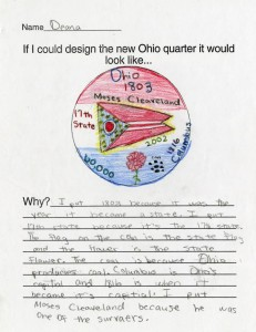 Ohio state quarter design by a student named Deana, via Ohio Memory.