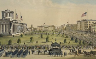Lithograph showing the Lincoln funeral procession in Columbus, courtesy of the Kelton House Museum and Garden via Ohio Memory.