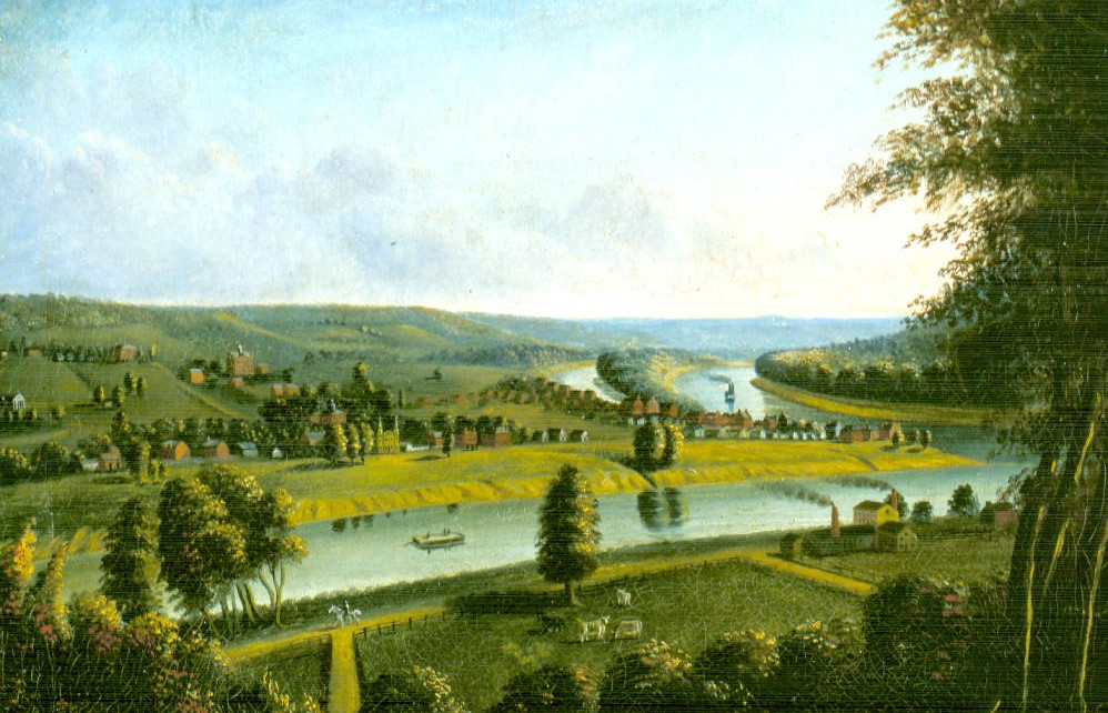 "1835 painting titled ""Marietta from Harmar Hill,"" by Charles Sullivan, via Ohio Memory."