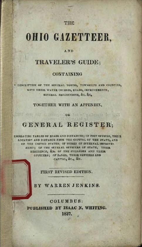 Title page of The Ohio Gazetteer, and Traveler's Guide, courtesy of the State Library of Ohio via Ohio Memory.