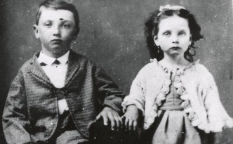 Photo of Albert B. Graham, the founder of 4-H, with his sister Lettie around 1875, preserved in digital format on Ohio Memory by the Middletown Public Library.