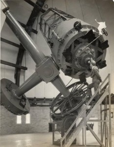 The 69-inch Perkins Telescope not long after its installation in 1931. Courtesy of the Ohio Wesleyan University Historical Collection via Ohio Memory.