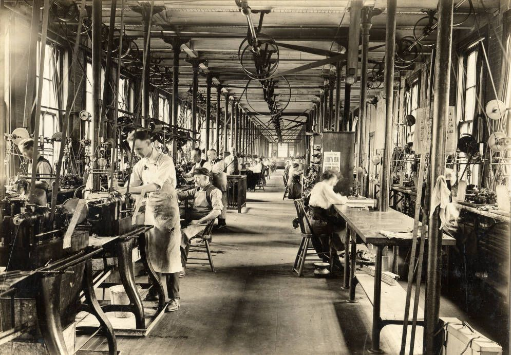 Employees at work in the flat steel division at the Dueber Hampden watch factory, ca. 1900. Courtesy of the McKinley Presidential Library & Museum via Ohio Memory.