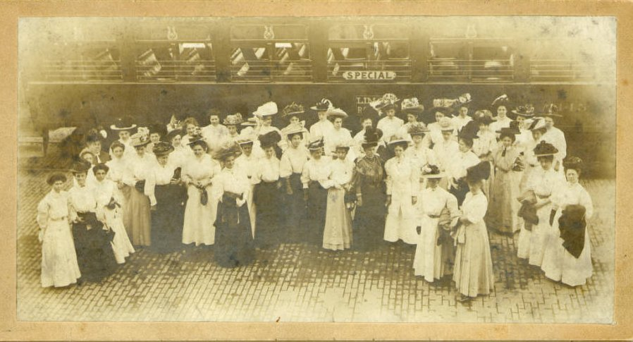 Women's group outing by interurban train, ca. 1897. Courtesy of the Bowling Green State University Center for Archival Collections via Ohio Memory.