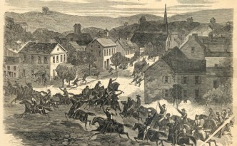 Illustration of the entry of Morgan's Raiders into Washington, Ohio, published in Harper's Weekly, August 15, 1863. Via Ohio Memory.