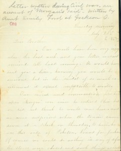 Emily Ford's letter  detailing the incursion of Morgan's Raiders into Jackson County, via Ohio Memory.