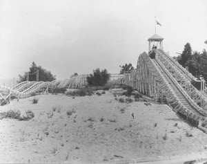 Cedar Point's second roller coaster, the Racer. Courtesy of the Rutherford B. Hayes Presidential Center, via Ohio Memory.