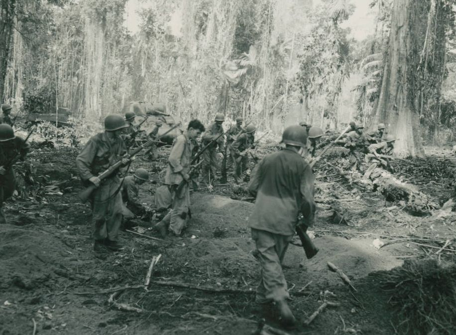 129th Infantry Regiment of the 37th Infantry Division in combat on Bougainville, March 1944. Via Ohio Memory.