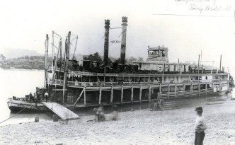"""The steamboat """"Katie Stockdale,"""" photographed near Reedsville, Ohio, in 1889. Courtesy of the Way Collection of Photographs from the  Public Library of Cincinnati & Hamilton County via Ohio Memory."""