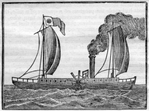 Illustration of the first Fulton boat built in America, via Ohio Memory.