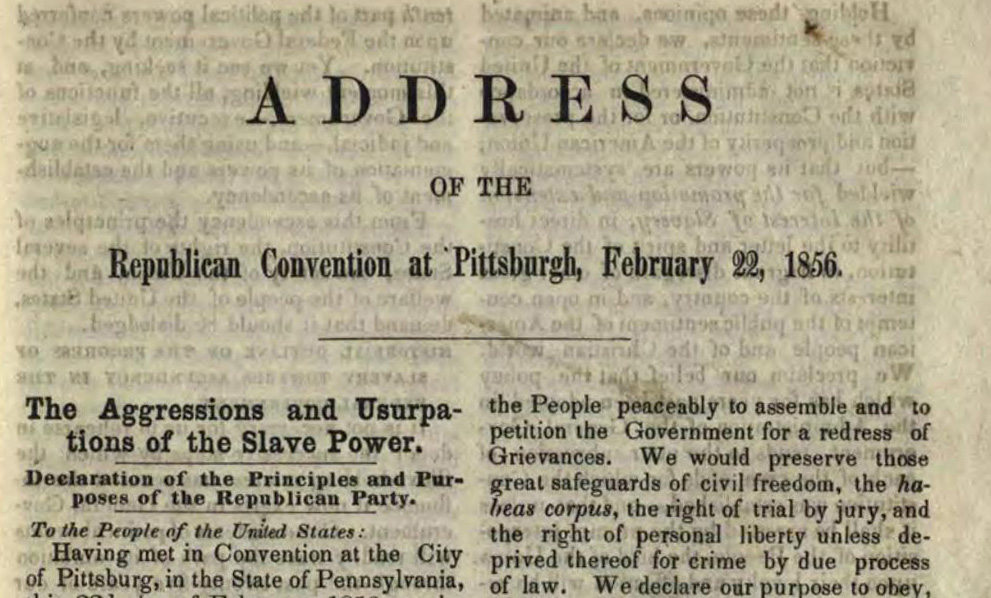 "First page of the ""Address of the Republican Convention,"" February 22, 1856. Courtesy of the State Library of Ohio Rare Books Collection on Ohio Memory."