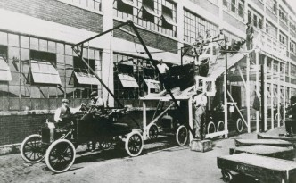 """""""Ford Motor"""" at a Model-T factory, via the Ohio Guide Collection on Ohio Memory."""