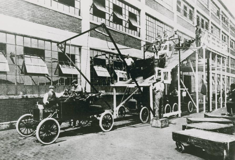 """Ford Motor"" at a Model-T factory, via the Ohio Guide Collection on Ohio Memory."